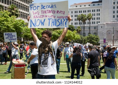 Los Angeles, California - June 30, 2018: Protestors at the Families Together March and Rally in Downtown LA protesting the Trump administration policy of separating immigrants from their children.