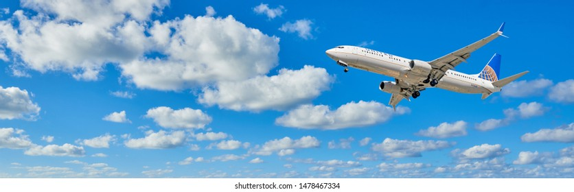 LOS ANGELES - CALIFORNIA, MARCH 11, 2019: United Airlines Boeing 737 aircraft is airborne as it departs Los Angeles International Airport. LAX