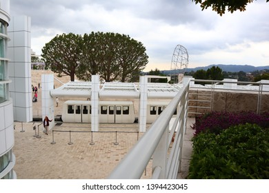 Los Angeles, California – May 10, 2019: The Getty Center Tram upper Station on Plaza of The Getty Center