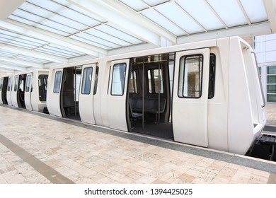 Los Angeles, California May 10, 2019: The Getty Center Tram, Upper Station on Plaza of The Getty Center