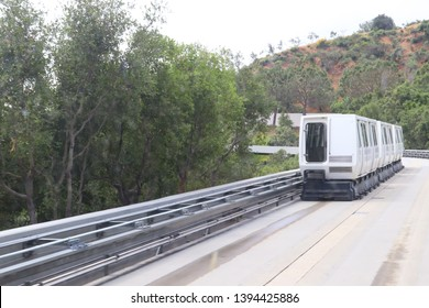 Los Angeles, California – May 10, 2019: The Getty Center Railroad Tram from Lower to Upper Station  on Plaza of The Getty Center