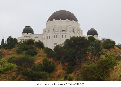Los Angeles, California – May 13, 2019:  view of Griffith Observatory from Observatory Trial