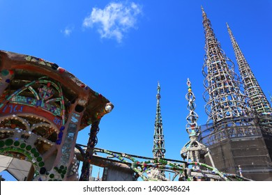 Los Angeles, California – May 16, 2019: WATTS TOWERS by Simon Rodia, architectural structures, located in Simon Rodia State Historic Park, LOS ANGELES