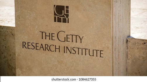LOS ANGELES, CALIFORNIA - MAY 2009: Stone plaque outside the Getty Research Institute which is in the Getty Center