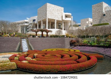 LOS ANGELES, CALIFORNIA - MAY 2009:  Robert Irwin's Central Garden at the Getty Center with the buildings of the Getty Museum in the background