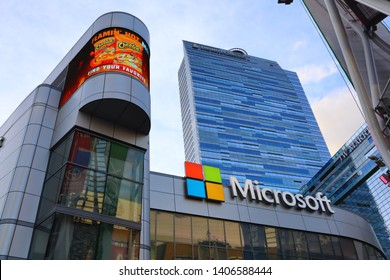 Los Angeles, California - May 21, 2019: XBOX PLAZA, Microsoft Theater in front of the Staples Center, downtown of Los Angeles