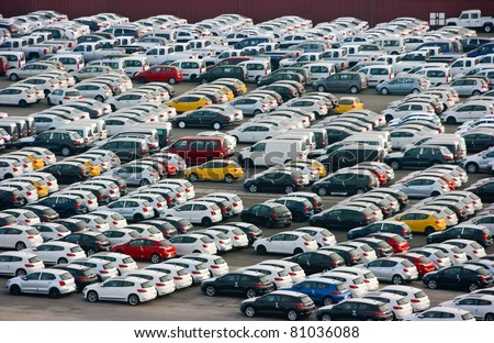 LOS ANGELES, CALIFORNIA -  MAY 29: New cars arrive at Los Angeles Sea Port on May 29, 2011 in Los Angeles, California. Auto terminal has a capacity to accommodate 8000 cars.