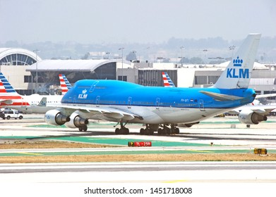 LOS ANGELES - CALIFORNIA, MAY 4, 2019: KLM Royal Dutch Airlines Boeing 747 aircraft taxing along the runway upon arrival at Los Angeles International Airport. Los Angeles, California USA