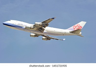 LOS ANGELES - CALIFORNIA, MAY 4, 2019: China Airlines Cargo Boeing 747 aircraft is airborne as it departs Los Angeles International Airport. Los Angeles, California USA