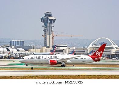 LOS ANGELES - CALIFORNIA, MAY 4, 2019: Virgin Atlantic Airways Boeing 787-9 Dreamliner aircraft taxiing along the runway upon arrival at Los Angeles International Airport. Los Angeles, California USA