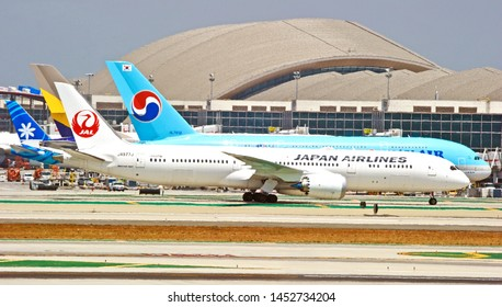 LOS ANGELES - CALIFORNIA, MAY 4, 2019: Japan Airlines Boeing 787-9 Dreamliner aircraft taxiing along the runway upon arrival at Los Angeles International Airport. Los Angeles, California USA