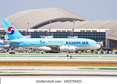 LOS ANGELES - CALIFORNIA, MAY 4, 2019: Korean Airlines Airbus A380 aircraft taxiing along the runway upon arrival at Los Angeles International Airport. Los Angeles, California USA