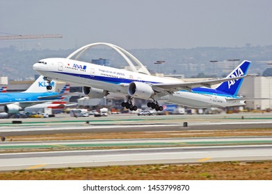 LOS ANGELES - CALIFORNIA, MAY 4, 2019: All Nippon Airways (ANA) Boeing 777 aircraft is airborne as it departs Los Angeles International Airport. Los Angeles, California USA