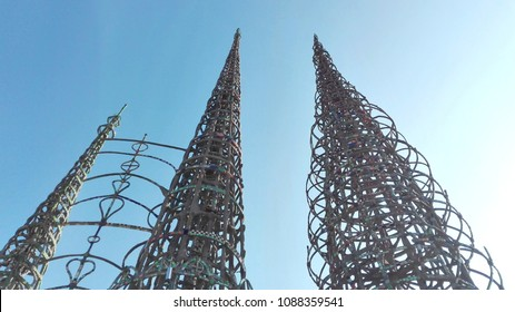 Los Angeles, California - May 9, 2018: WATTS TOWERS by Simon Rodia, architectural structures, located in Simon Rodia State Historic Park, Los Angeles