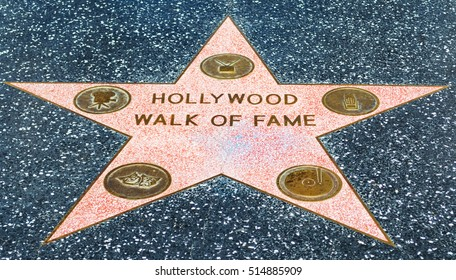 LOS ANGELES, CALIFORNIA - NOVEMBER 02, 2016: Hollywood Walk of Fame
