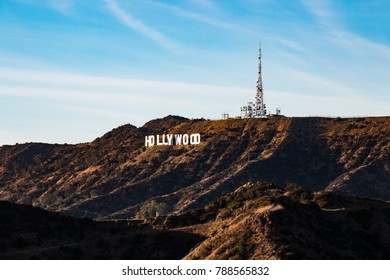 LOS ANGELES, CALIFORNIA - NOVEMBER 19, 2017:  The iconic Hollywood sign at sunset.  It was originally erected in 1923 atop Mt. Lee, and is known worldwide as a symbol of the entertainment industry.