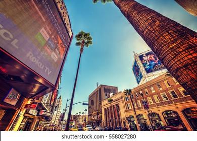 LOS ANGELES, CALIFORNIA - NOVEMBER 2, 2016: Hollywood boulevard in Los Angeles, California