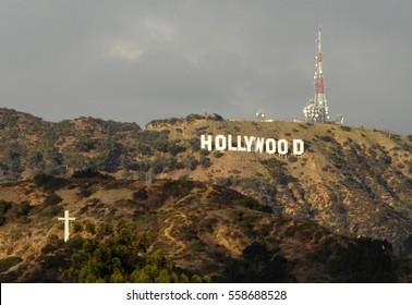 LOS ANGELES, CALIFORNIA - NOVEMBER 20, 2011: Hollywood sign in Los Angeles, California. Holywood sign