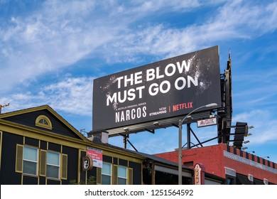 Los Angeles, California – November 6, 2017: 'Narcos' season 3 billboard on Sunset Blvd. Narcos ia an American crime drama web television series.