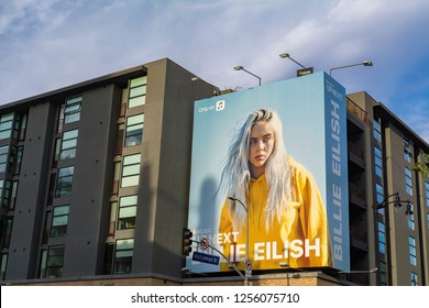 Los Angeles, California – November 6, 2017:  Billie Eilish billboard on the side of a  building on Hollywood Blvd.
