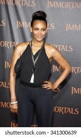 """LOS ANGELES, CALIFORNIA - November 7, 2011. Samantha Mumba at the World premiere of """"Immortals"""" held at Nokia LA Live, Los Angeles."""
