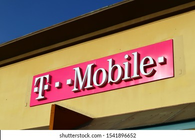 Los Angeles, California – October 10, 2019: T-Mobile sign. The United States based wireless network operator whose majority shareholder is the German telecommunications company Deutsche Telekom