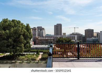 LOS ANGELES, CALIFORNIA - OCTOBER 11, 2017: Urban background of the Los Angeles cityscape showing new developments and growth.