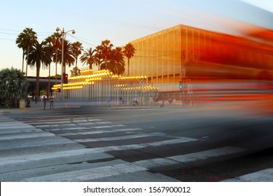 Los Angeles, California – October 2, 2019: LACMA Los Angeles County Museum of Art on Wilshire Blvd, Los Angeles - Long Exposure Photo