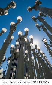 Los Angeles,  California - October 26th 2012: Urban Light assemblage sculpture by the artist Chris Burden at the Los Angeles County Museum of Art