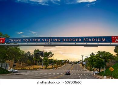 LOS ANGELES, CALIFORNIA - OCTOBER 28, 2016: Dodgers Stadium banner at sunset