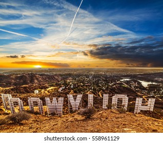 Los Angeles, California - October 28, 2016: Colorful sky over Hollywood sign at sunset