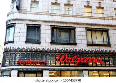 Los Angeles, California - October 3, 2019: Walgreens Pharmacy on downtown Los Angeles. Walgreens is an American pharmacy store chain in the United States