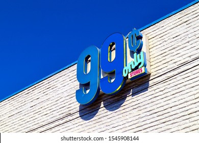 Los Angeles, California - October 6, 2019: 99 Cents Only Store sign. American price-point retailer chain priced at 99.99 cents or less