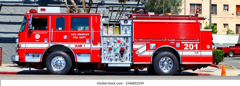 Los Angeles, California - October 6, 2019: LAFD Los Angeles Fire Department Truck