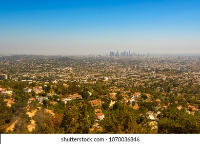 Los Angeles, California, seen from Hollywood Hills on a sunny day.