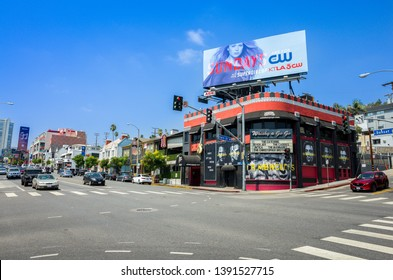 LOS ANGELES, California - Sep 1st 2018: Famous Whisky a Go Go nightclub on the Sunset Strip at the intersection of Sunset boulevard and Clark street in Hollywood. Launching pad of Motley Crue.