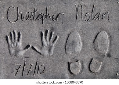 Los Angeles, California - September 06, 2019: Hand and footprints of filmmaker Christopher Nolan in the Grauman's Chinese Theatre forecourt, Hollywood, Los Angeles, California, USA.