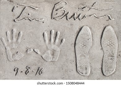 Los Angeles, California - September 06, 2019: Hand and footprints of filmmaker Tim Burton in the Grauman's Chinese Theatre forecourt, Hollywood, Los Angeles, California, USA.