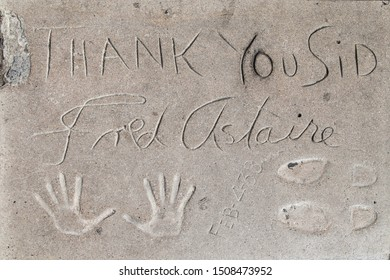Los Angeles, California - September 07, 2019: Hand and footprints of actor Fred Astaire in the Grauman's Chinese Theatre forecourt, Hollywood, Los Angeles, California, USA.
