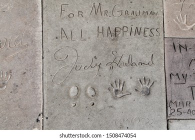 Los Angeles, California - September 07, 2019: Hand and footprints of actress Judy Garland in the Grauman's Chinese Theatre forecourt, Hollywood, Los Angeles, California, USA.