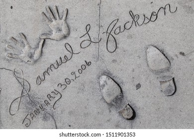 Los Angeles, California - September 07, 2019: Hand and footprints of actor Samuel L Jackson in the Grauman's Chinese Theatre forecourt, Hollywood, Los Angeles, California, USA.
