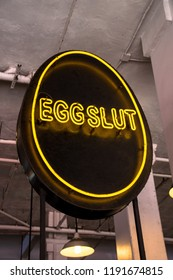 Los Angeles, California - September 22, 2018 - Neon sign for the Eggslut eatery at the Grand Central Market in downtown Los Angeles
