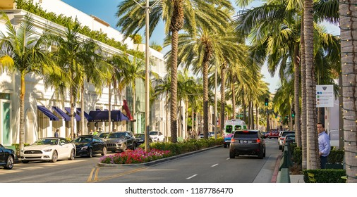 Los Angeles, California – September 26, 2017: Rodeo Drive, a Famous shopping district in Beverly Hills.