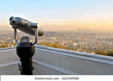 Los Angeles, California, skyline at sunset with smog