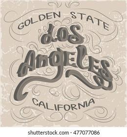 Los Angeles California Typography. T-shirt fashion stylish graphics. LA original wear.
