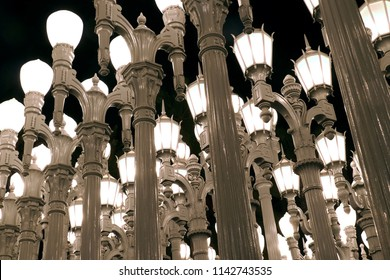 Los Angeles, California / United States - July 3, 2018: Urban Light, a large-scale assemblage sculpture, located at the Wilshire Boulevard entrance to the Los Angeles County Museum of Art