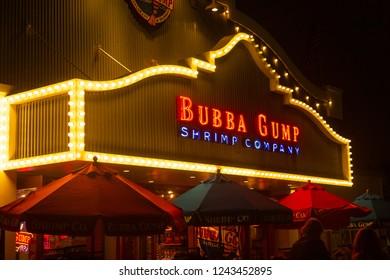 Los Angeles, California / United States - September 28 2018: Bubba Gump Shop Entrance