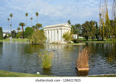 Los Angeles, California, United States of America - January 7, 2017. Tomb of philanthropist William A. Clark Jr., across Sylvan Lake at Hollywood Forever Cemetery in Los Angeles, CA.