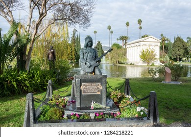 Los Angeles, California, United States of America - January 7, 2017.  Grave tombstone and monument of American punk rock guitarist Johnny Ramone at Hollywood Forever Cemetery in Los Angeles, CA.