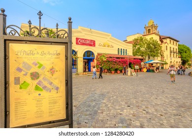 Los Angeles, California, United States - August 9, 2018: Spanish architecture in historic center of El Pueblo de Los Angeles, Historical Monument Directory in Old Plaza, the oldest part of downtown LA